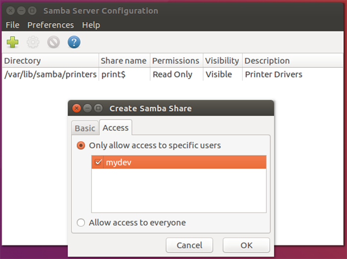 Samba Share Basic Settings